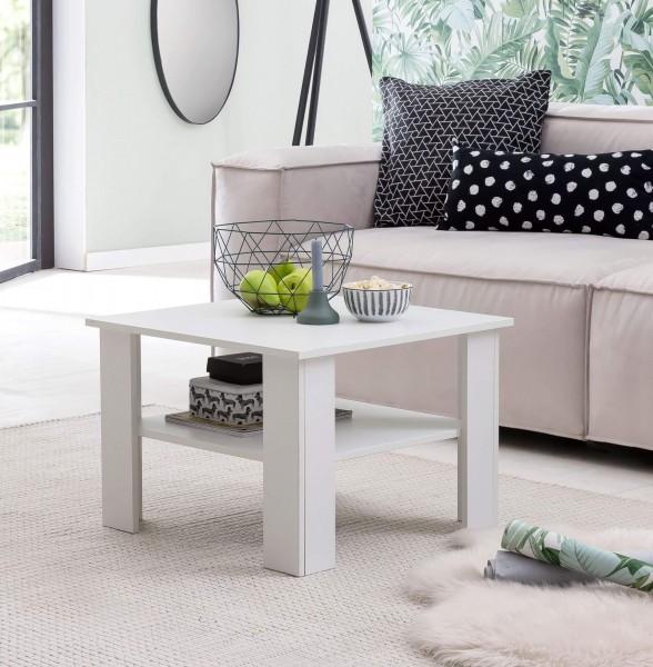 WOHNLING Couchtisch WL5.834 Weiß 60x42x60 cm Design Holztisch mit Ablage