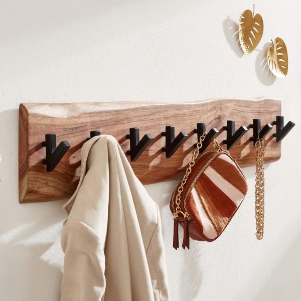 Wandgarderobe Holz Metall 90 cm Hakenleiste Massivholz