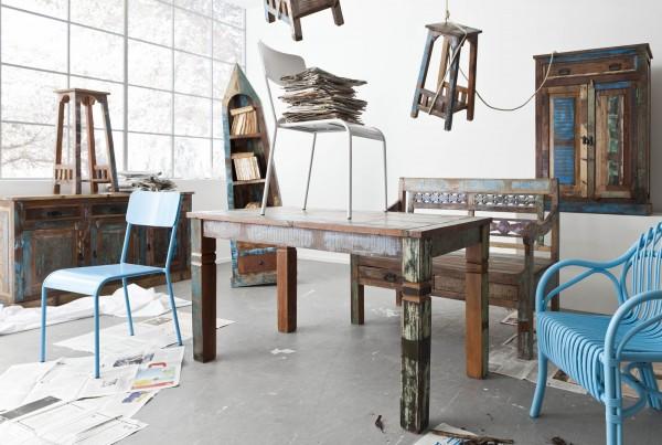 SIT Möbel Esstisch Riverboat aus recyceltem Altholz, bunt lackiert | B 140 cm | 09114-98