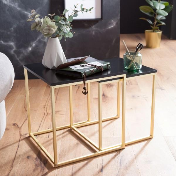 WOHNLING Satztisch CALA Schwarz / Gold Beistelltisch MDF / Metall | Couchtisch Set aus 2 Tischen
