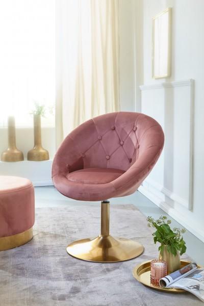 WOHNLING Loungesessel WL6.300 Samt Rosa / Gold Design