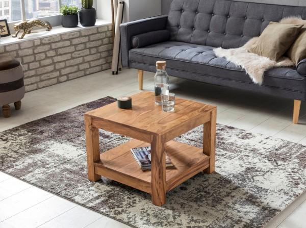 WOHNLING Couchtisch MUMBAI Massiv-Holz Akazie 60 x 60 cm Wohnzimmer-Tisch Design dunkel-braun