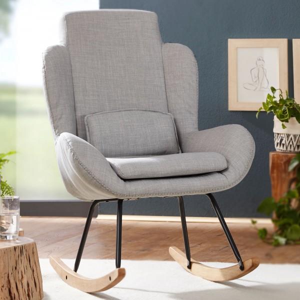 WOHNLING Schaukelstuhl ROCKY Grau Design Relaxsessel Stoff / Holz