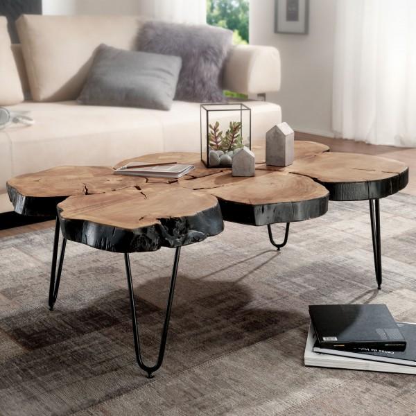 WOHNLING Couchtisch BAGLI Massiv-Holz Akazie 115 cm breit Wohnzimmer-Tisch Design Metallbeine