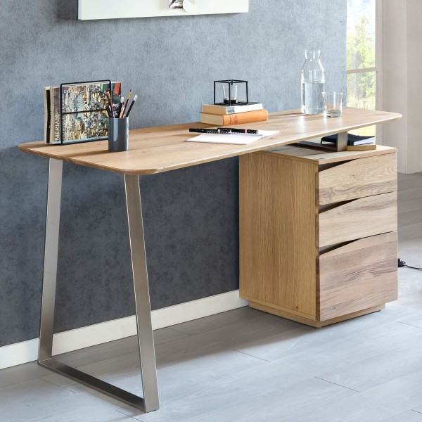 WOHNLING Schreibtisch FARON 150x67x76 cm Eiche Massivholz Tischplatte Nierenförmig   Bürotisch