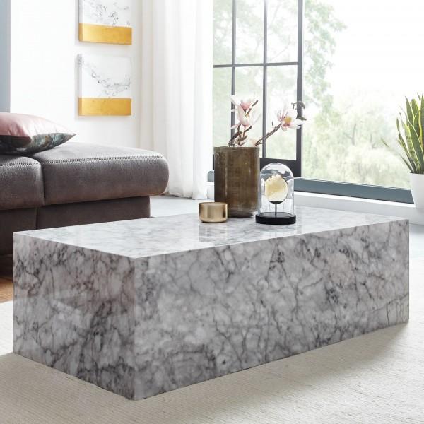 Wohnling Lounge Couchtisch Cube 100x30x50 cm Hochglanz mit Marmor Optik Weiß