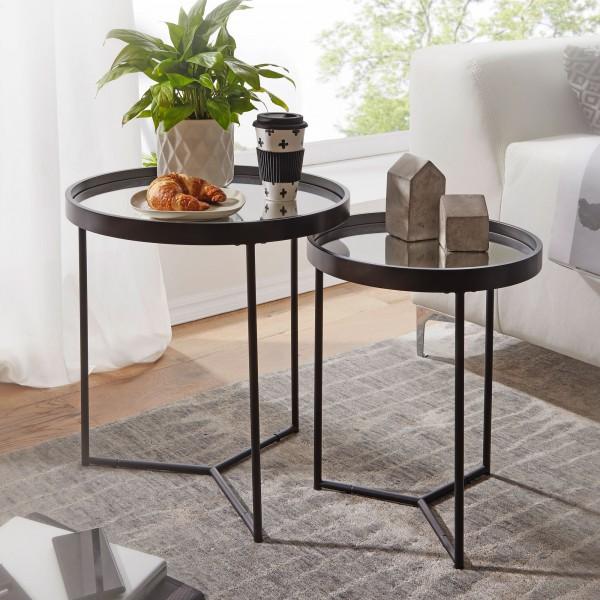 WOHNLING Design Beistelltisch Rund Ø 50/36 cm - 2 teilig Schwarz mit Spiegel Glasplatte | WL6.006