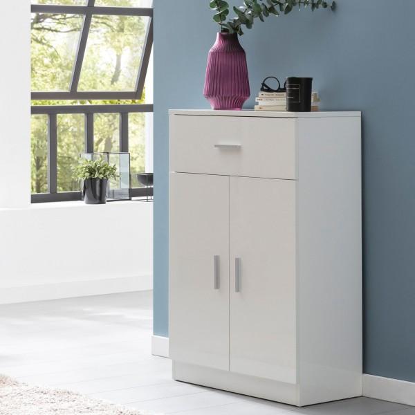 WOHNLING Highboard WL5.861 Weiß Hochglanz 60 cm Design Holz Anrichte