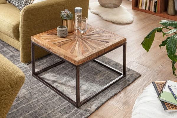 Couchtisch Mango Massivholz 55x55 cm Tisch mit Metallgestell