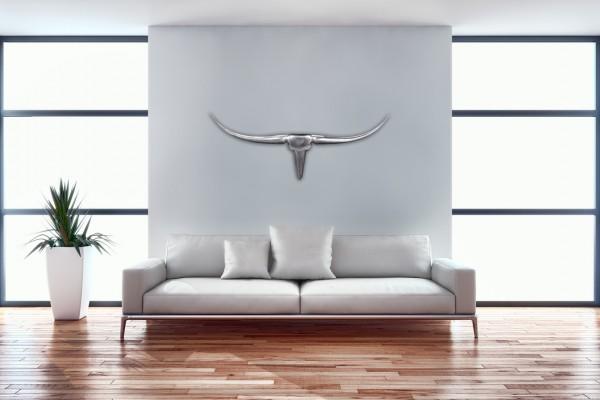 WOHNLING Deko Geweih Bull M WL1.245 Silber 100 cm Aluminium Design Hörner