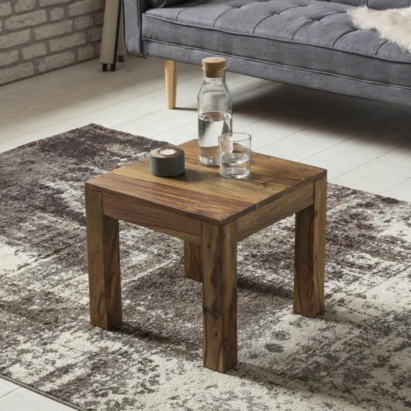 WOHNLING Couchtisch Massiv-Holz Sheesham 45 cm breit Wohnzimmer-Tisch Design dunkel-braun