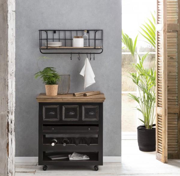 SIT Möbel Corsica Küchenwagen   3 Schubladen, 1 herausnehmbares Tablett, Ablage für 4 Flaschen