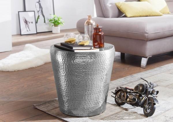 WOHNLING Beistelltisch VIKRAM 41x41x41cm Aluminium Silber Dekotisch orientalisch rund   Hammerschlag