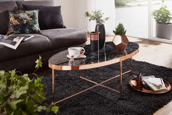 WOHNLING Design Couchtisch Marmor Optik Schwarz - Oval 110 x 56 cm mit Kupfer Metallgestell   Großer