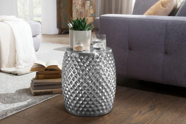 WOHNLING Beistelltisch SITA 32x42x32 cm Aluminium Anstelltisch Silber Orientalisch Rund