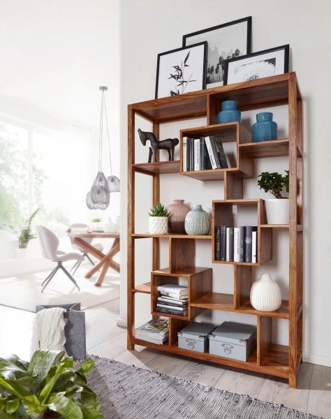 WOHNLING Bücherregal MUMBAI Massiv-Holz Sheesham 115 x 180 cm Wohnzimmer-Regal Ablagefächer Design