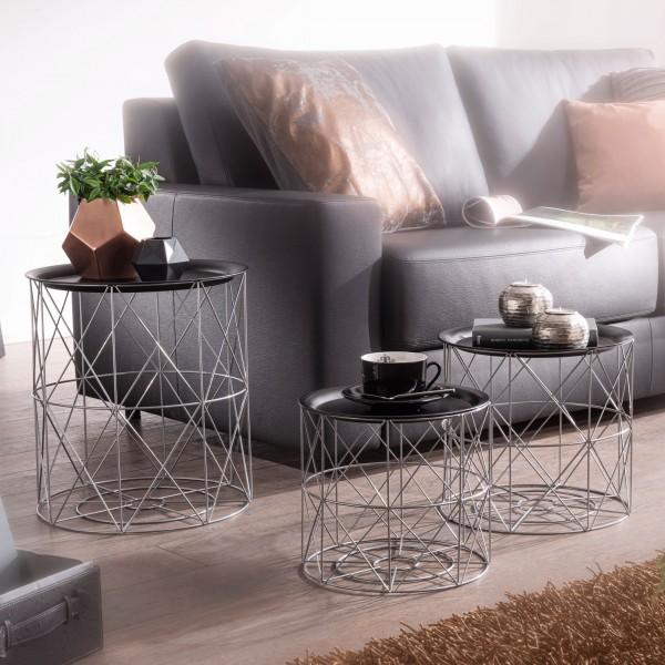 Moderne Beistelltisch 3er Set aus Körben Schwarz / Silber