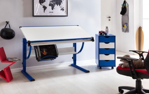 WOHNLING Design Kinderschreibtisch MORITZ Holz 120 x 60 cm blau / weiß   Jungen Schülerschreibtisch