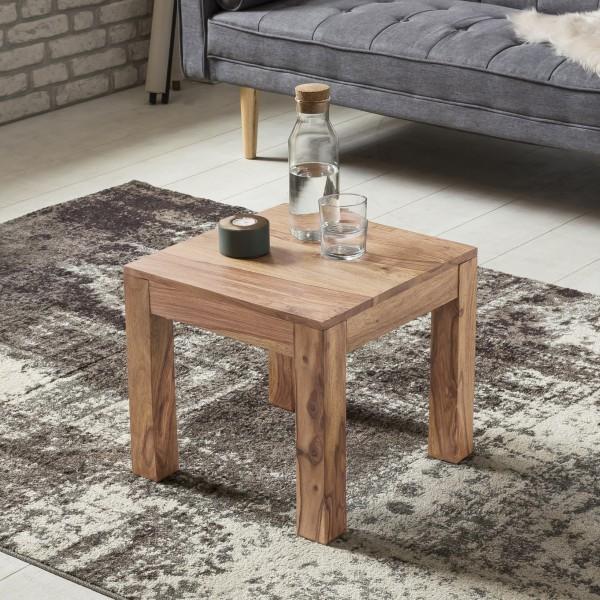 WOHNLING Couchtisch Massiv-Holz Akazie 45 cm breit Wohnzimmer-Tisch Design braun Landhaus-Stil