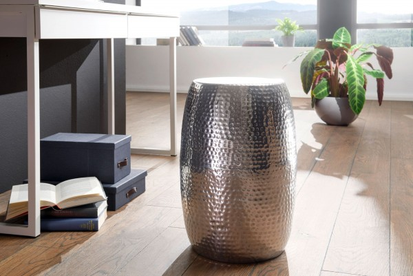WOHNLING Beistelltisch PEDRO 30cm Aluminium Silber Dekotisch orientalisch rund