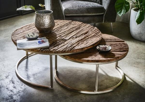 Design Couchtisch Tulum rund 2er-Set recyceltes Altholz