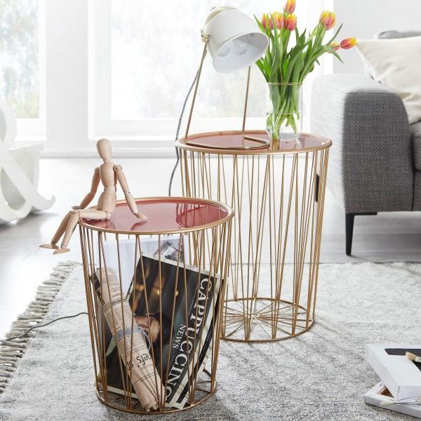 Wohnling Design Beistelltisch 2er Set Korbtisch Rot / Gold Satztisch Rund | Wohnzimmertisch Modern