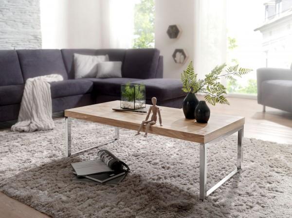 WOHNLING Couchtisch GUNA Massiv-Holz Akazie 120 cm breit Wohnzimmer-Tisch Design dunkel-braun