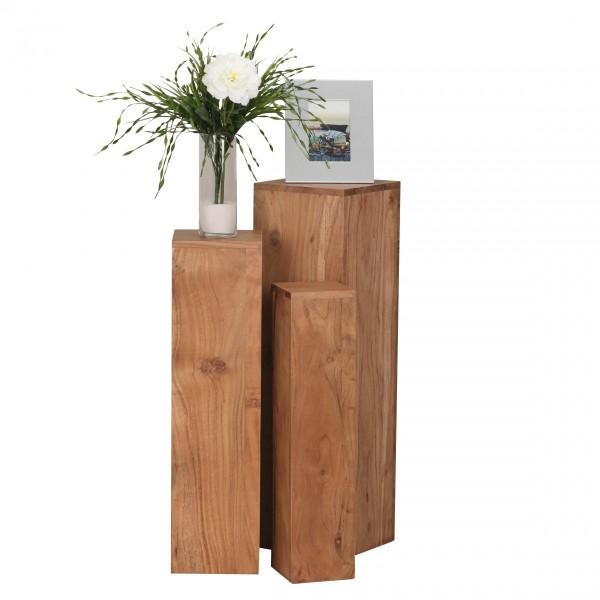 Wohnling Dekosäulen 3er Set Beistelltische Massivholz Echtholz Akazie