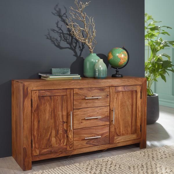 WOHNLING Sideboard MUMBAI, Design Massivholz Sheesham Kommode 118 cm 3 Schubladen 2 Türen