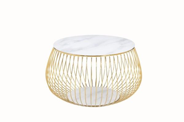 Design Couchtisch mit Metallkorb Ø 72 cm - Marmoroptik, Weiß Gold