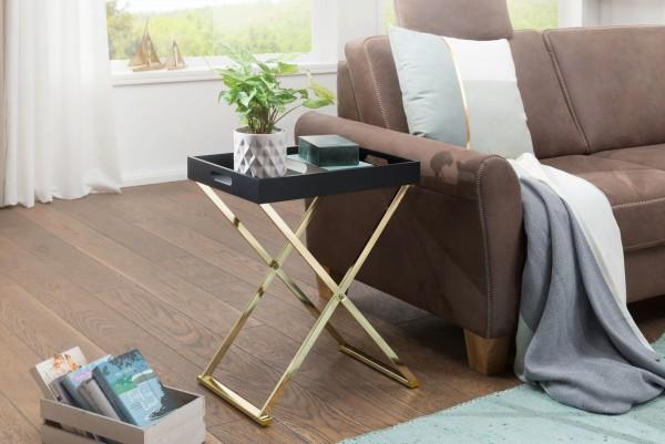 WOHNLING Beistelltisch NINA TV-Tray Klappbar 48 x 61 x 34 cm Schwarz/Gold | Design Wohnzimmertisch