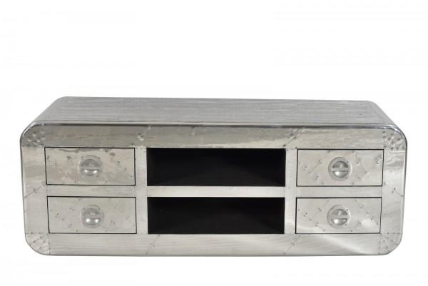 SIT Möbel Lowboard | 4 Schubladen, 2 offene Fächer | Mangoholz + MDF mit Alu beschlagen | B 140 x T
