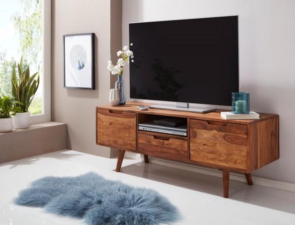 WOHNLING TV Lowboard AMANA Sheesham Landhaus HiFi Kommode 135 cm