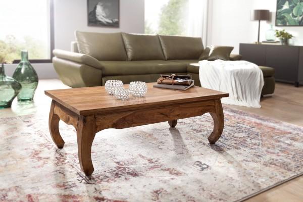 WOHNLING Couchtisch OPIUM Massiv-Holz Sheesham 110 cm breit Wohnzimmer-Tisch Design dunkel-braun
