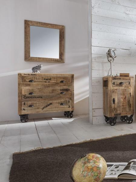 SIT Möbel RUSTIC Kommode Mangoholz | L 90 x B 40 x H 90 cm | natur / antikschwarz