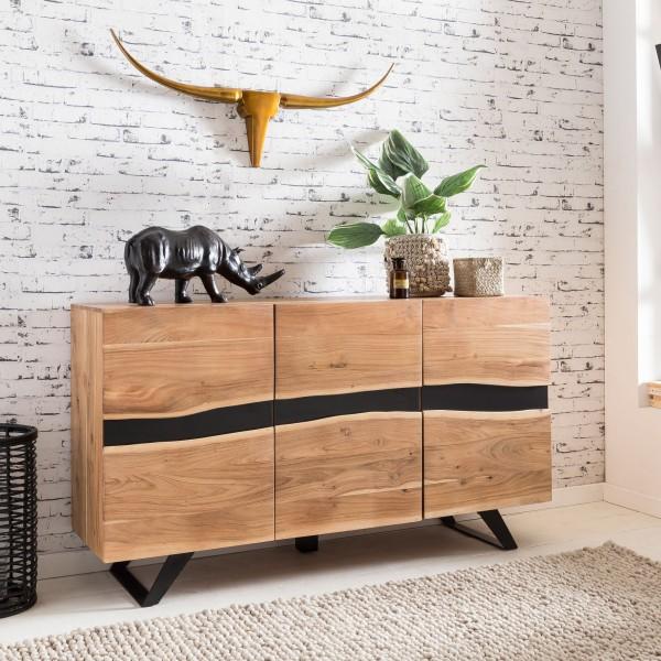 WOHNLING Sideboard SATARA 148 cm Massiv-Holz Akazie Natur Baumkante Anrichte