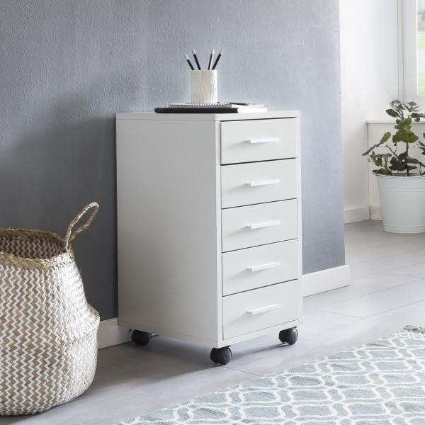 WOHNLING Rollcontainer LISA Weiß 33 x 63 x 38 cm Holz Schubladenschrank Schreibtisch | Büro Schrank