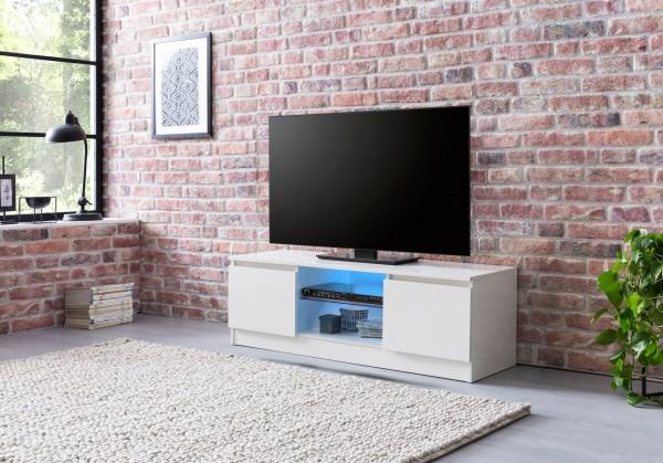 WOHNLING Lowboard mit LED WL5.717 Weiß Hochglanz 120 cm HiFi Regal | Design Fernsehschrank Kommode