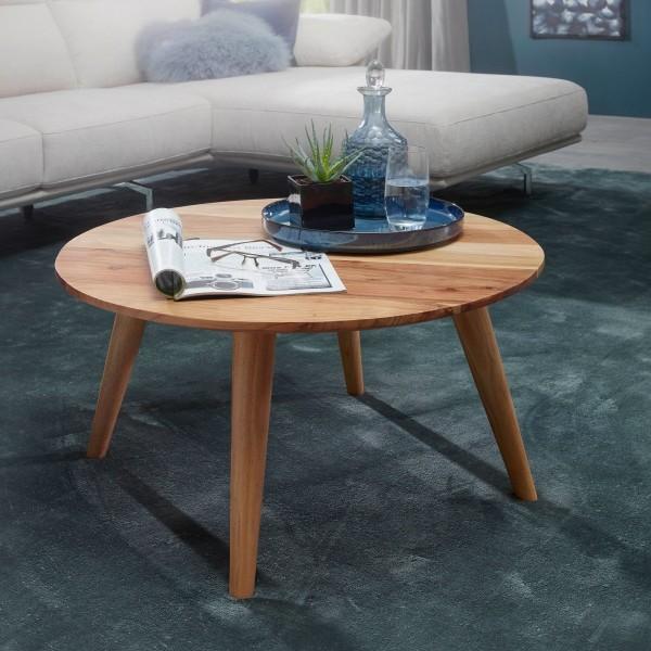 WOHNLING Couchtisch BOHA Massivholz Akazie | Wohnzimmertisch rund Ø75 x 40 cm | Beistelltisch