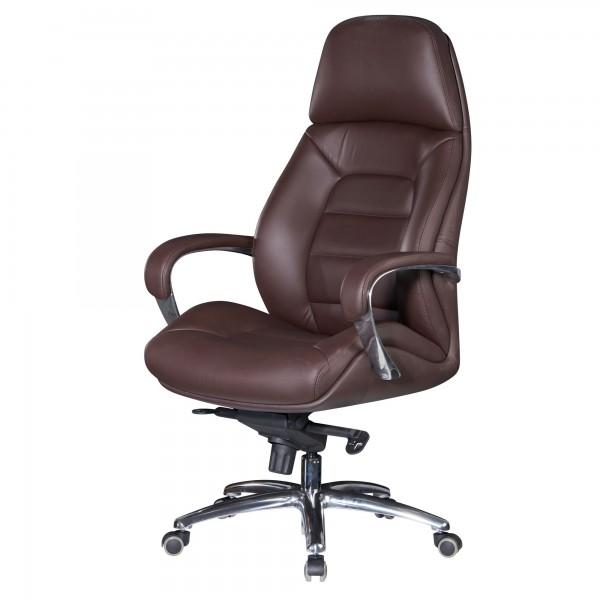Amstyle Designer Bürostuhl Bezug Echtleder Braun Schreibtischstuhl bis 120 kg | XXL Design SPM1.437