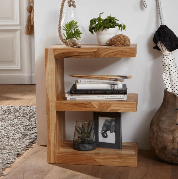 WOHNLING Beistelltisch MUMBAI Massivholz Akazie E Cube 60 cm hoch Wohnzimmer-Tisch Design braun