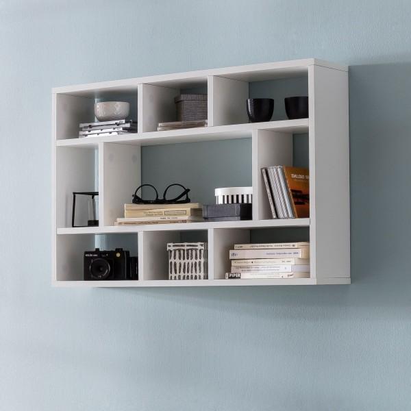 WOHNLING Wandregal WL5.810 Weiß 75x51x16 cm Holz Hängeregal Modern | Design Wandboard