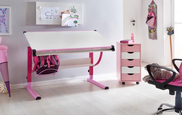 WOHNLING Design Kinderschreibtisch MORITZ Holz 120 x 60 cm rosa / weiß | Mädchen Schülerschreibtisch