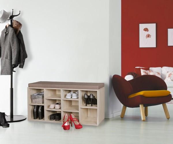 WOHNLING Schuhbank mit Sitzauflage LAURA sonoma Flurbank 103,5 cm