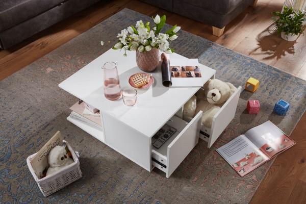 Design Couchtisch 70x70 cm Weiß mit 2 Schubladen auf Rollen