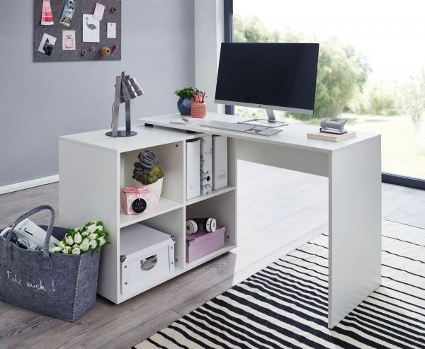 Design Eckschreibtisch mit Regal Weiß 117 x 75,5 x 88 cm