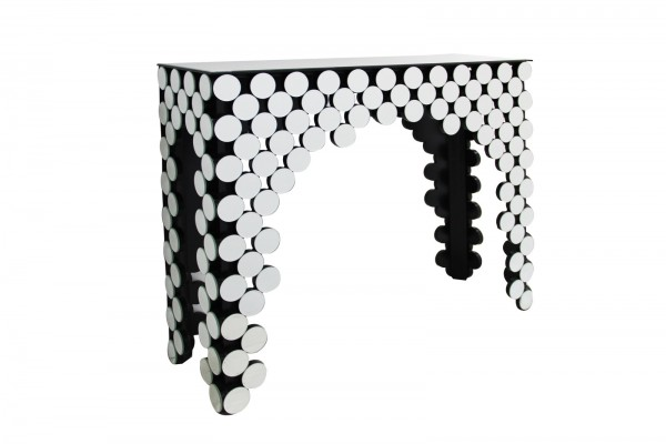 SalesFever Konsolentisch Theke, runde Spiegelglas Elemente | B 111 cm