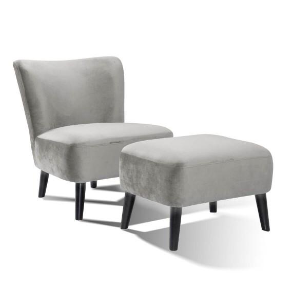 SalesFever Sessel und Hocker Retro Samt, grau