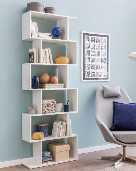 WOHNLING Bücherregal WL5.691 70 x 23,5 x 190,5 cm weiß | Standregal 6 Fächer