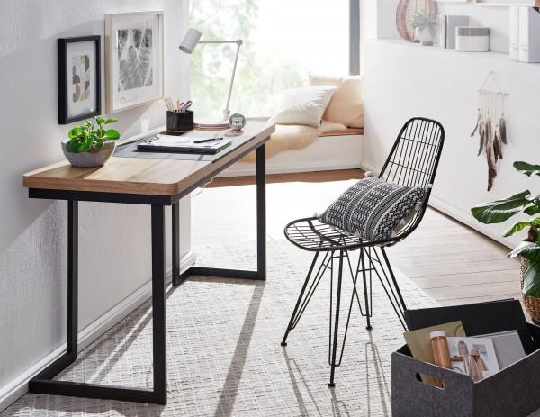 Wohnling Schreibtisch 140 cm Holz Eichendekor Metall Schwarz